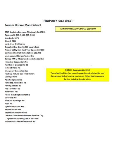 school property fact sheet