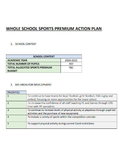 school sports action plan