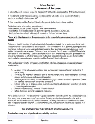 school teacher statement of purpose