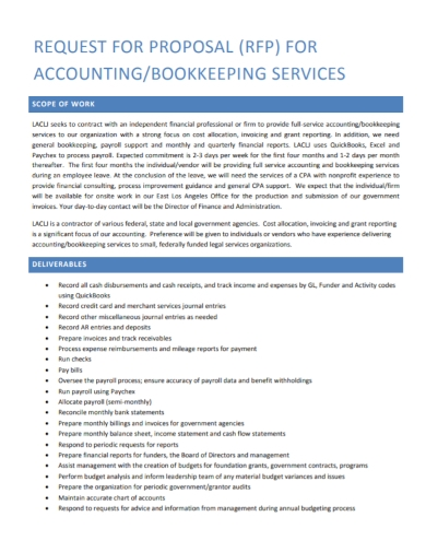 scope of work for accounting services proposal