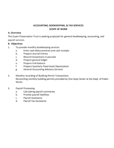 scope of work for accounting tax services