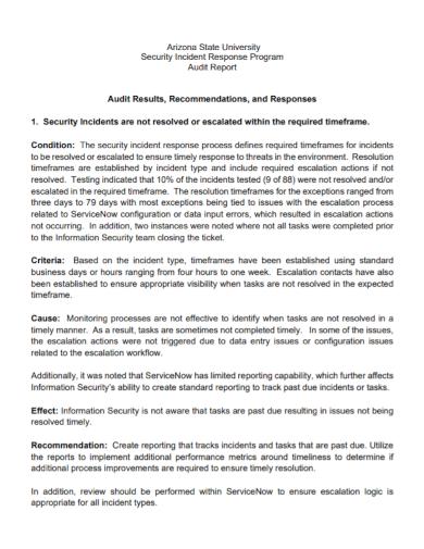 security incident audit report