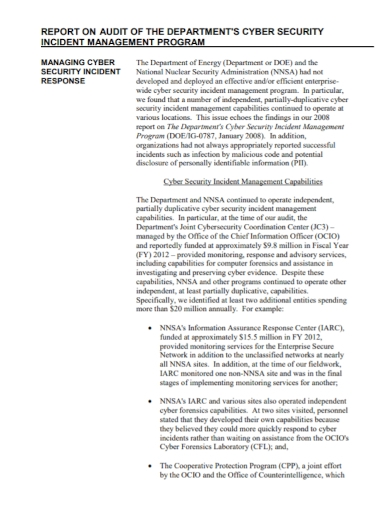 security incident management audit report