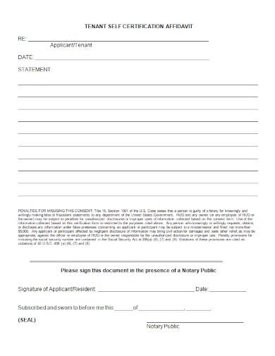 self affidavit statement