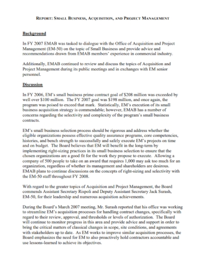 small business project management report