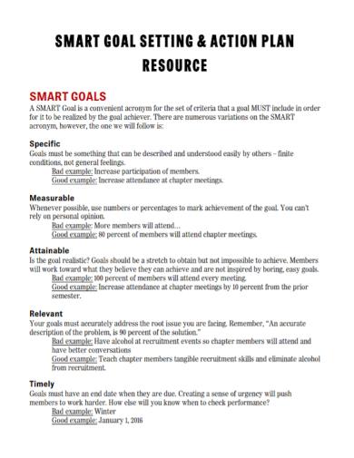 smart goal setting action plan