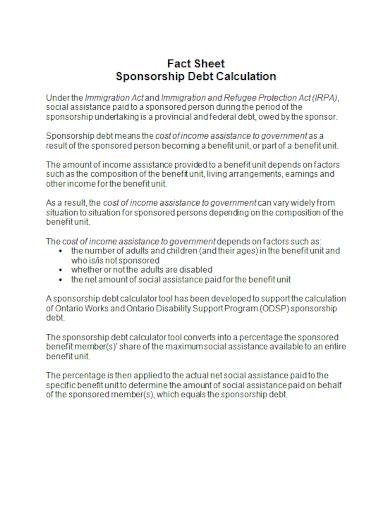sponsorship debt fact sheet