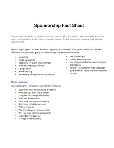 sponsorship fact sheet