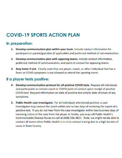 sports action plan sample