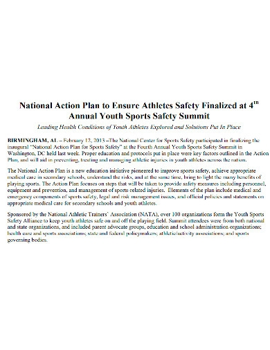sports safety action plan