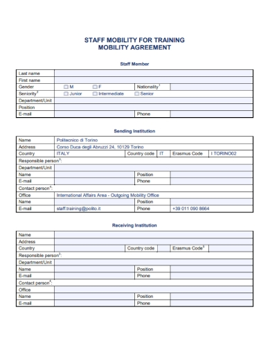 staff mobility training agreement