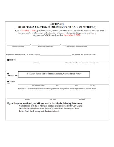 standard affidavit of business closure