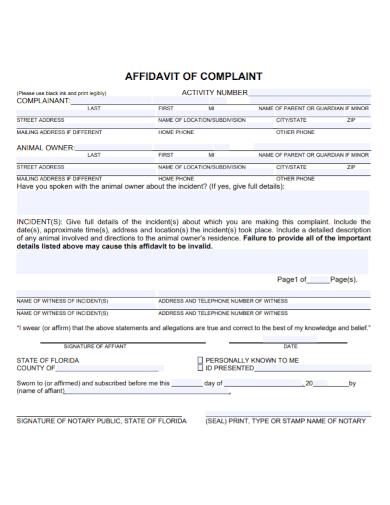 standard affidavit of complaint