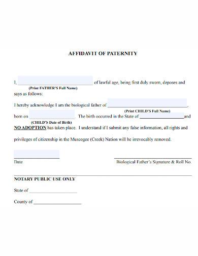 standard affidavit of paternity