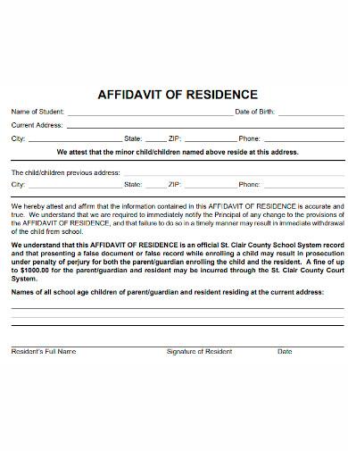 standard affidavit of residence