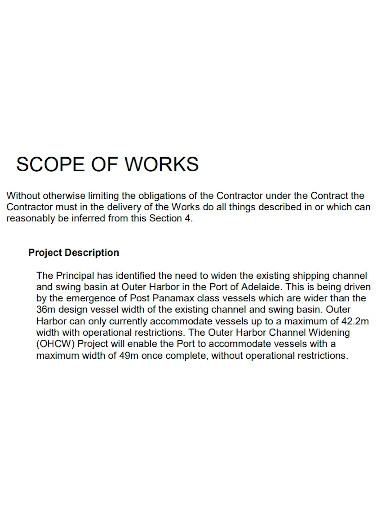 standard contract scope of work