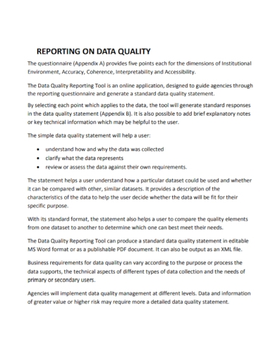 standard data quality report