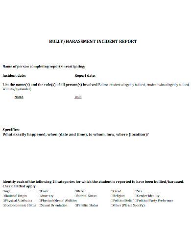 standard harassment incident report