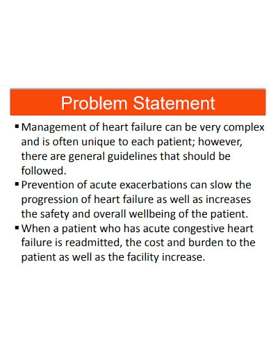 standard health problem statement