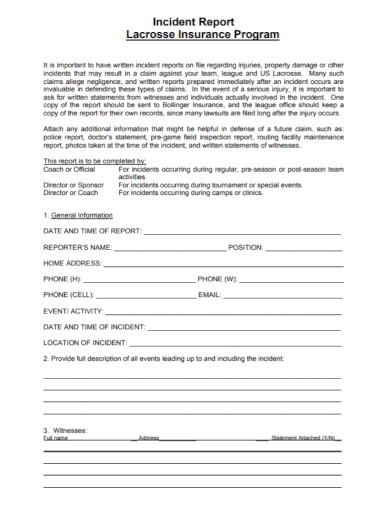 standard insurance incident report