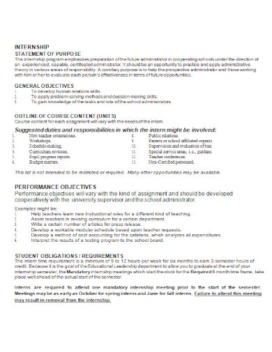 standard internship statement of purpose