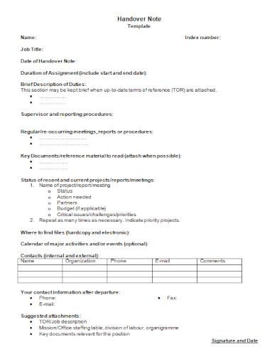 standard job handover note