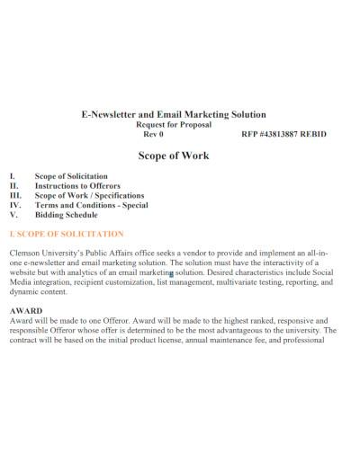 standard marketing scope of work