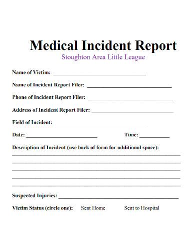 standard medical incident report