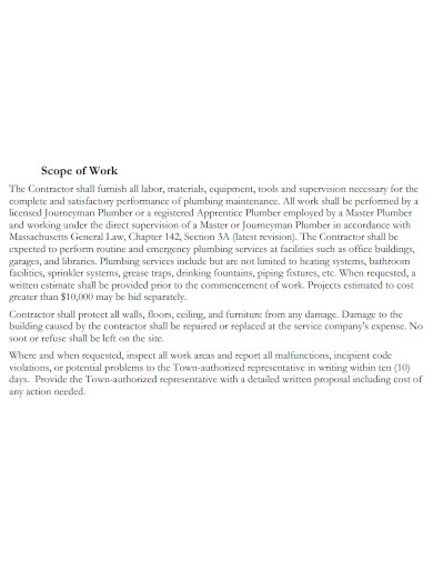 standard plumbing scope of work