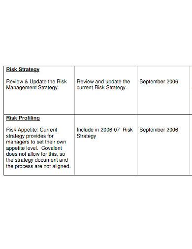 standard risk action plan