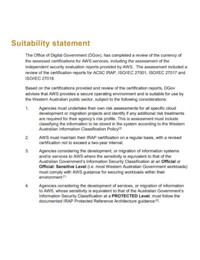 standard suitability statement