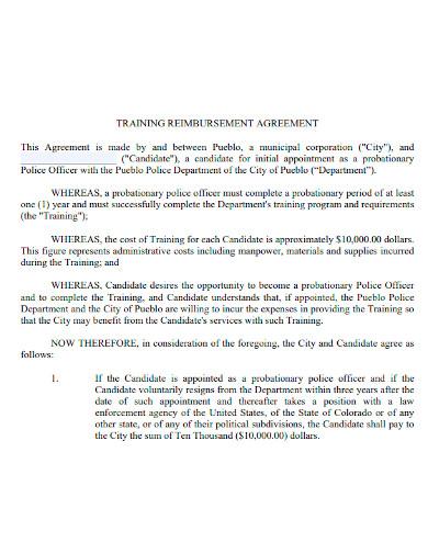 standard training reimbursement agreement