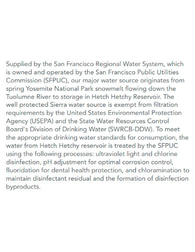 standard water quality report