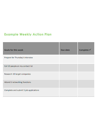 standard weekly action plan