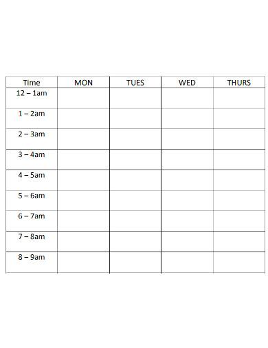 standard weekly study schedule