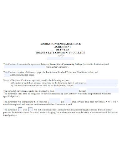standard workshop services agreement