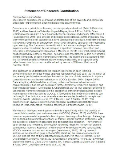 statement of research contribution