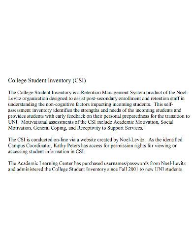 strategic college student inventory