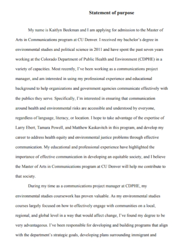 student admission statement of purpose