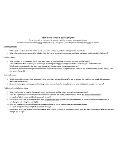 student problem solving report