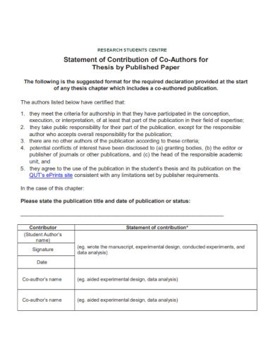 student research contribution statement