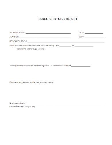 student research status report