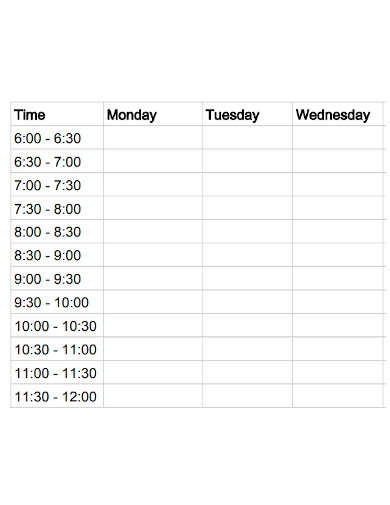student weekly study schedule