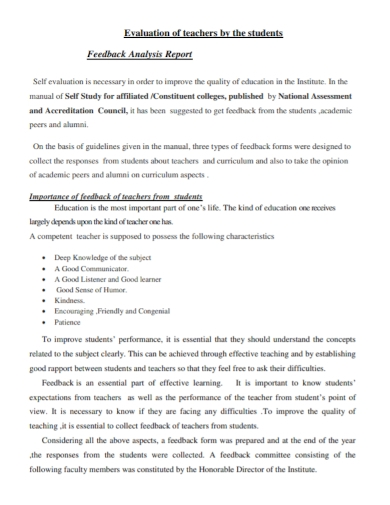 students evaluation feedback report