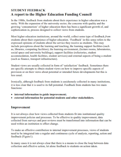 students higher education feedback report