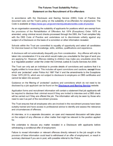 suitability policy statement