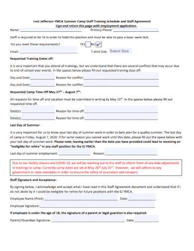summer camp staff training agreement
