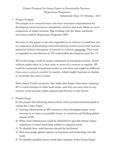 sustainable tourism project proposal