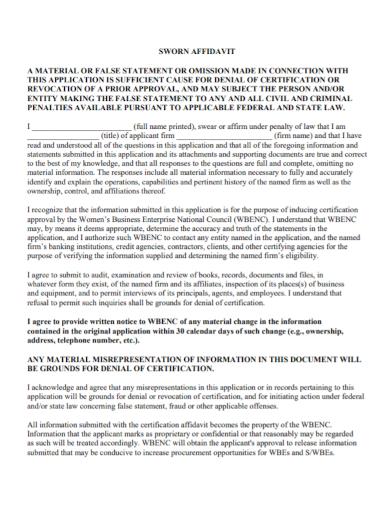 sworn affidavit statement