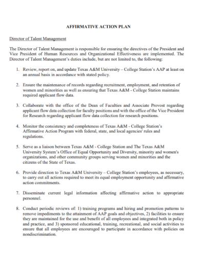 talent management director action plan